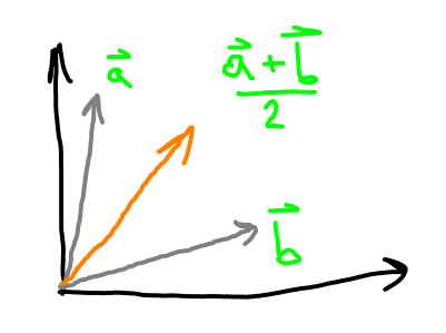 Average of two vectors.